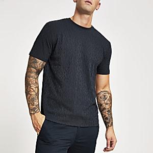 Dunkelblaues Slim Fit T-Shirt aus Jacquard