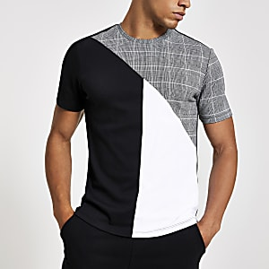 Grey check slim fit crew neck T-shirt