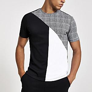 T-shirt slim ras-du-cou à carreaux gris