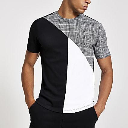 Grey check slim fit crew neck T-shirt