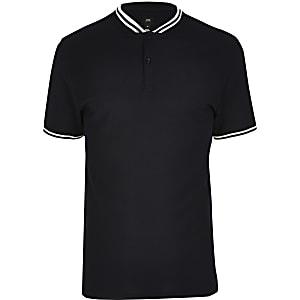 Big and Tall - Slim Fit Poloshirt mit Zierstreifen in Marineblau