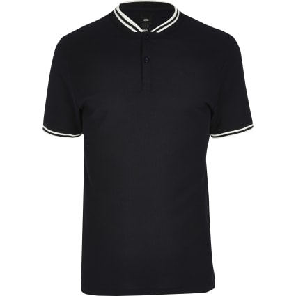 Big and Tall navy slim fit tipped polo shirt