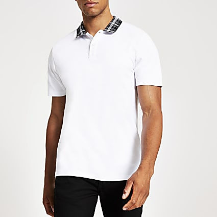 White slim fit check print collar polo shirt