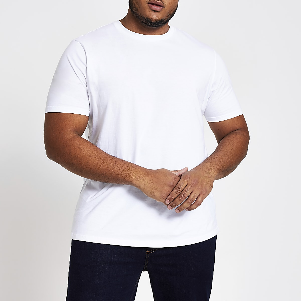 Big and Tall white short sleeve T-shirt