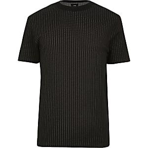Big and Black - gestreiftes Slim Fit T-Shirt in Schwarz