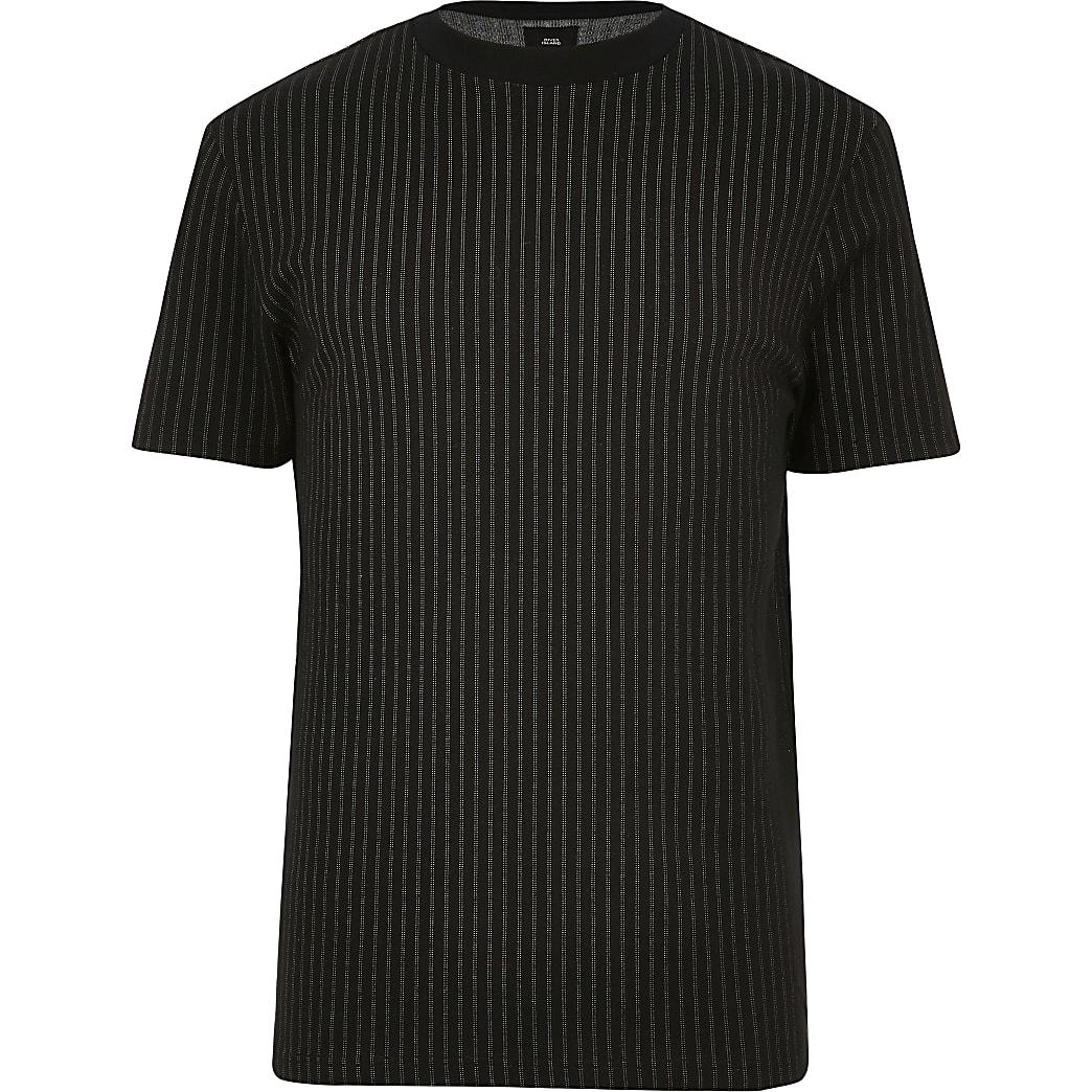 Big and Tall - T-shirt slim noir à rayures