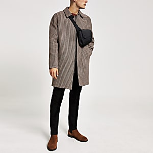 Bruine geruite jas met enkele knopenrij