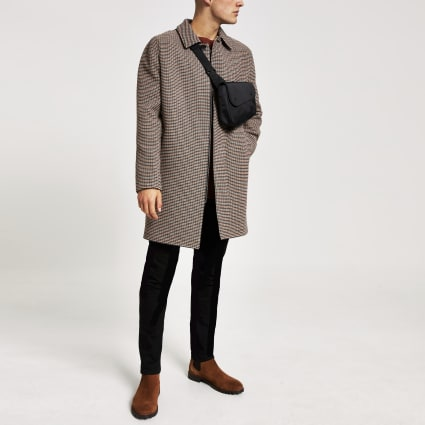 Brown check single breasted button coat