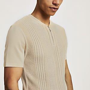 Steingraues Poloshirt in Slim Fit mit Baseball-Kragen