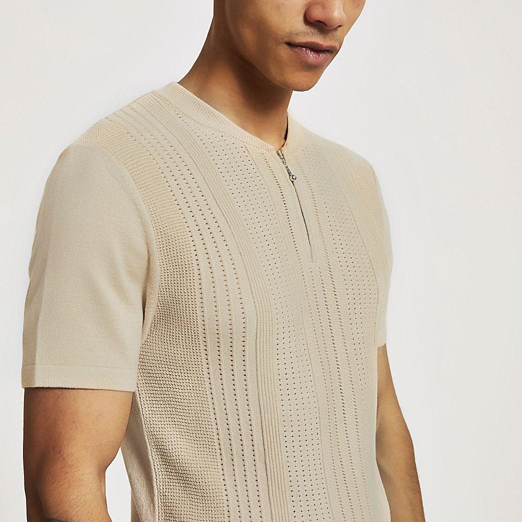 Stone baseball neck slim fit polo shirt