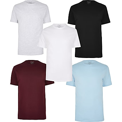 Multicoloured slim fit T-shirt 5 pack