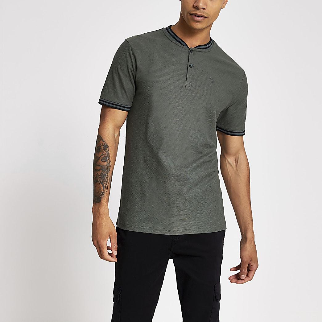 Green slim fit baseball polo shirt