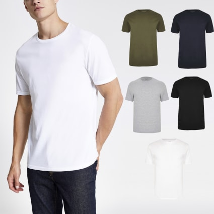 White multicoloured slim fit T-shirt 5 pack