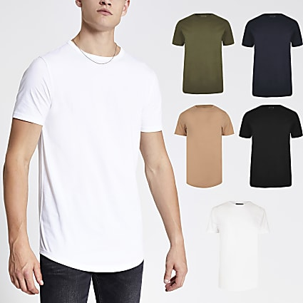 Black muscle fit curved hem T-shirt 5 pack