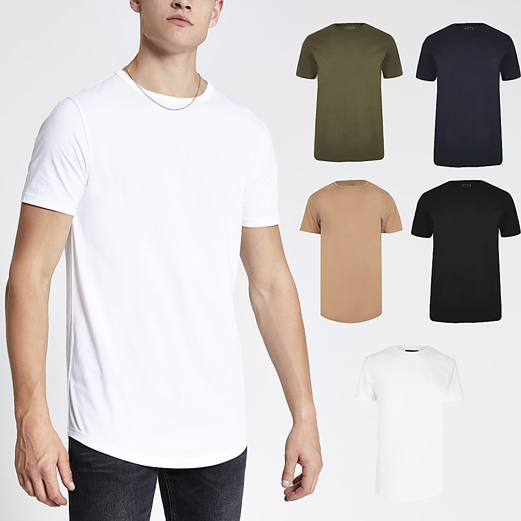 Schwarzes Muscle Fit T-Shirt in Longline-Silhouette, 5er-Set