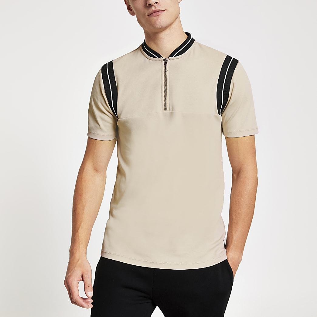 Stone ribbed zip neck slim fit polo shirt