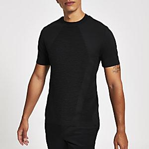 Zwart gebreid strak T-shirt met ribbels