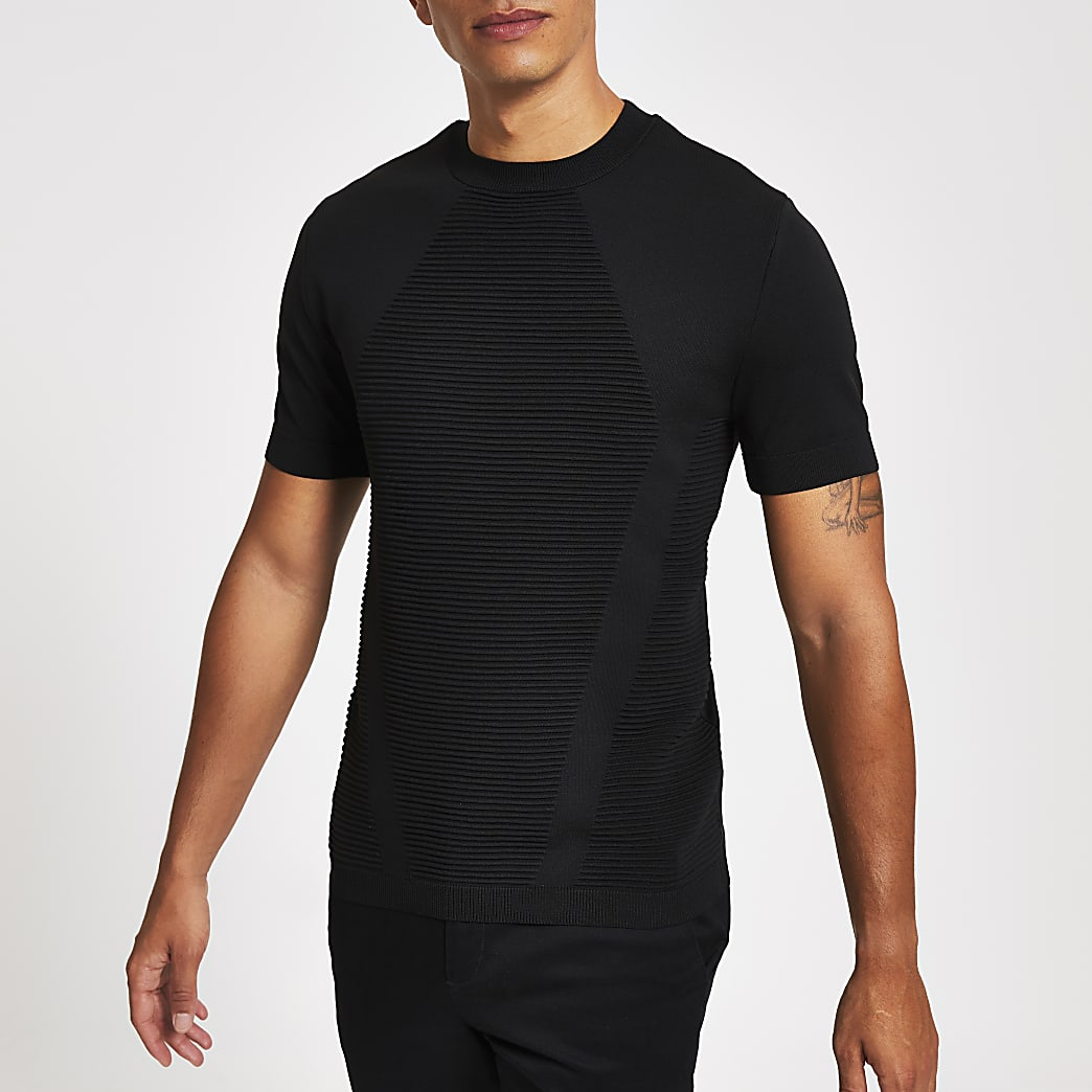 Black ribbed muscle fit knitted T-shirt