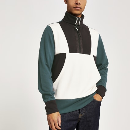 Green colour block funnel neck half zip top