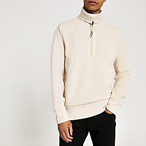 Ecru colour block funnel neck half zip top