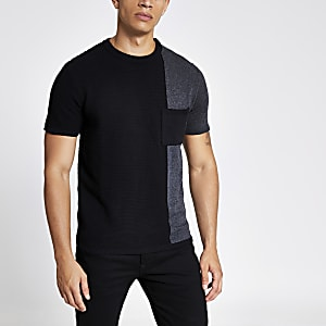 Zwart gebreid slim-fit T-shirt met kleurvlakken
