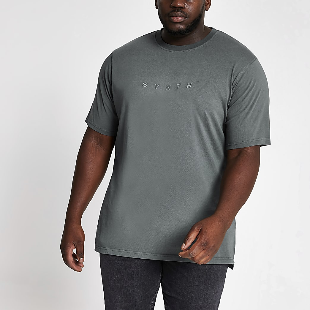 Big and Tall blue Svnth embroidered T-shirt