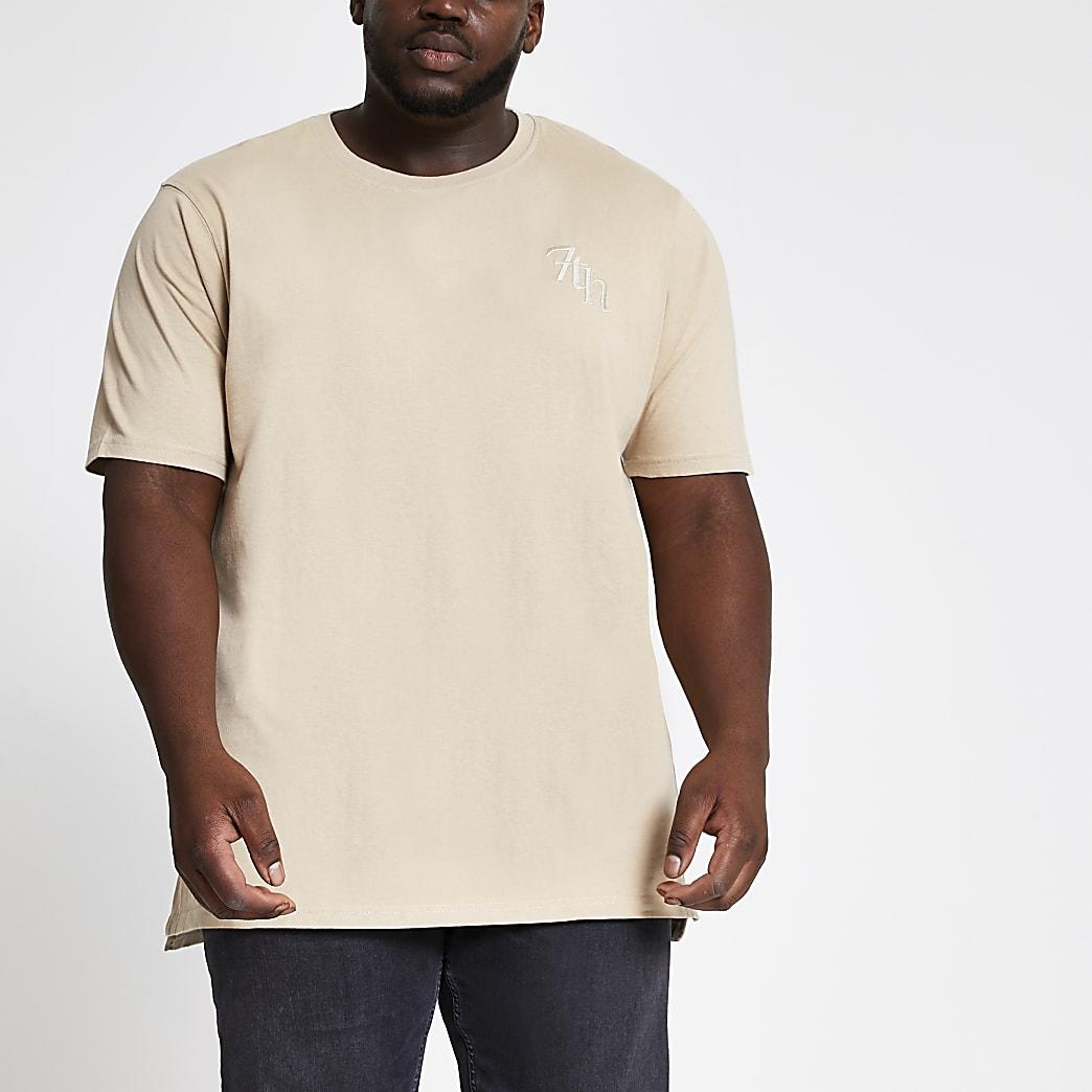 Big and Tall - Kiezelkleurig T-shirt met Svnth-borduursel