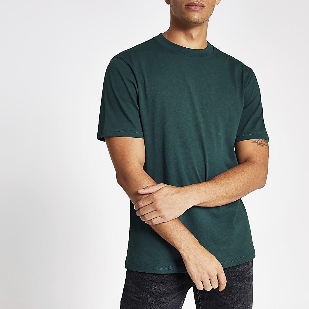 Dunkelblaugrünes, kurzärmeliges Regular Fit T-Shirt
