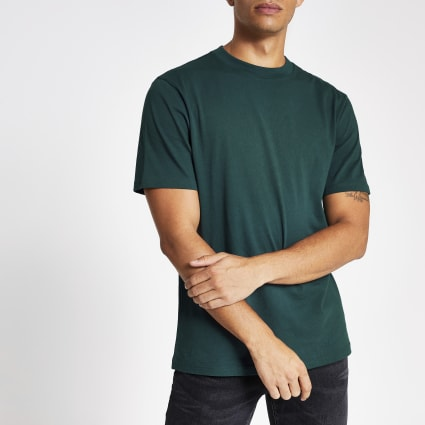Dark teal regular fit short sleeve T-shirt