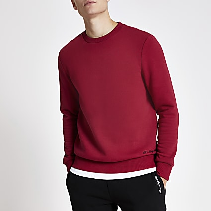 R96 red slim fit sweatshirt