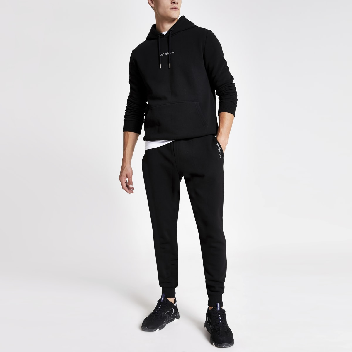 Black R96 slim fit jogger