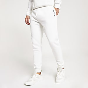 Witte slim-fit joggingbroek met R96-print