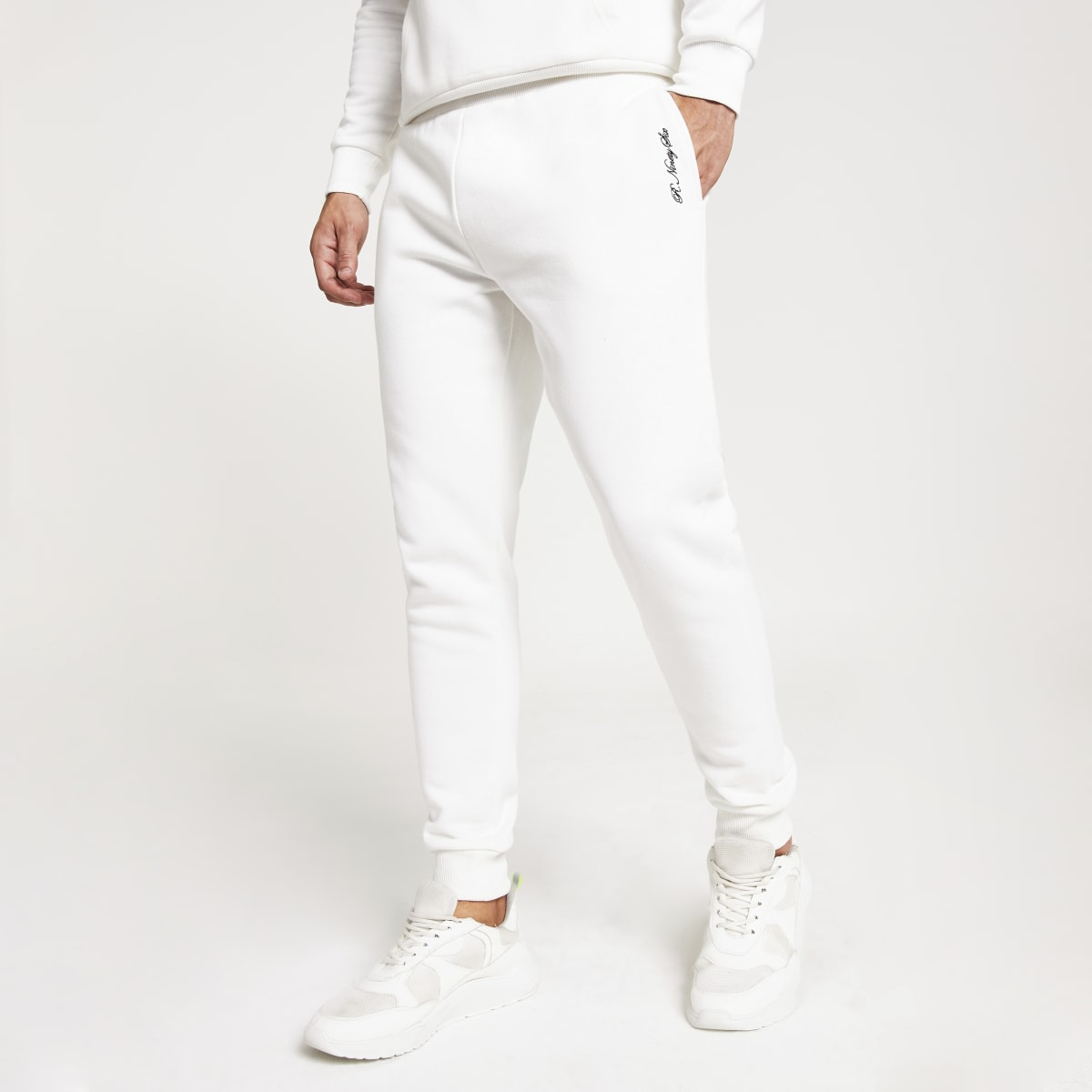 Witte slim-fit 'R96' joggingbroek