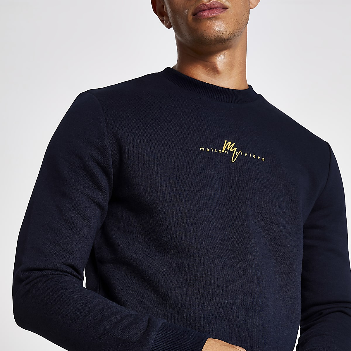 Maison Riviera - Marineblauw slim-fit sweatshirt