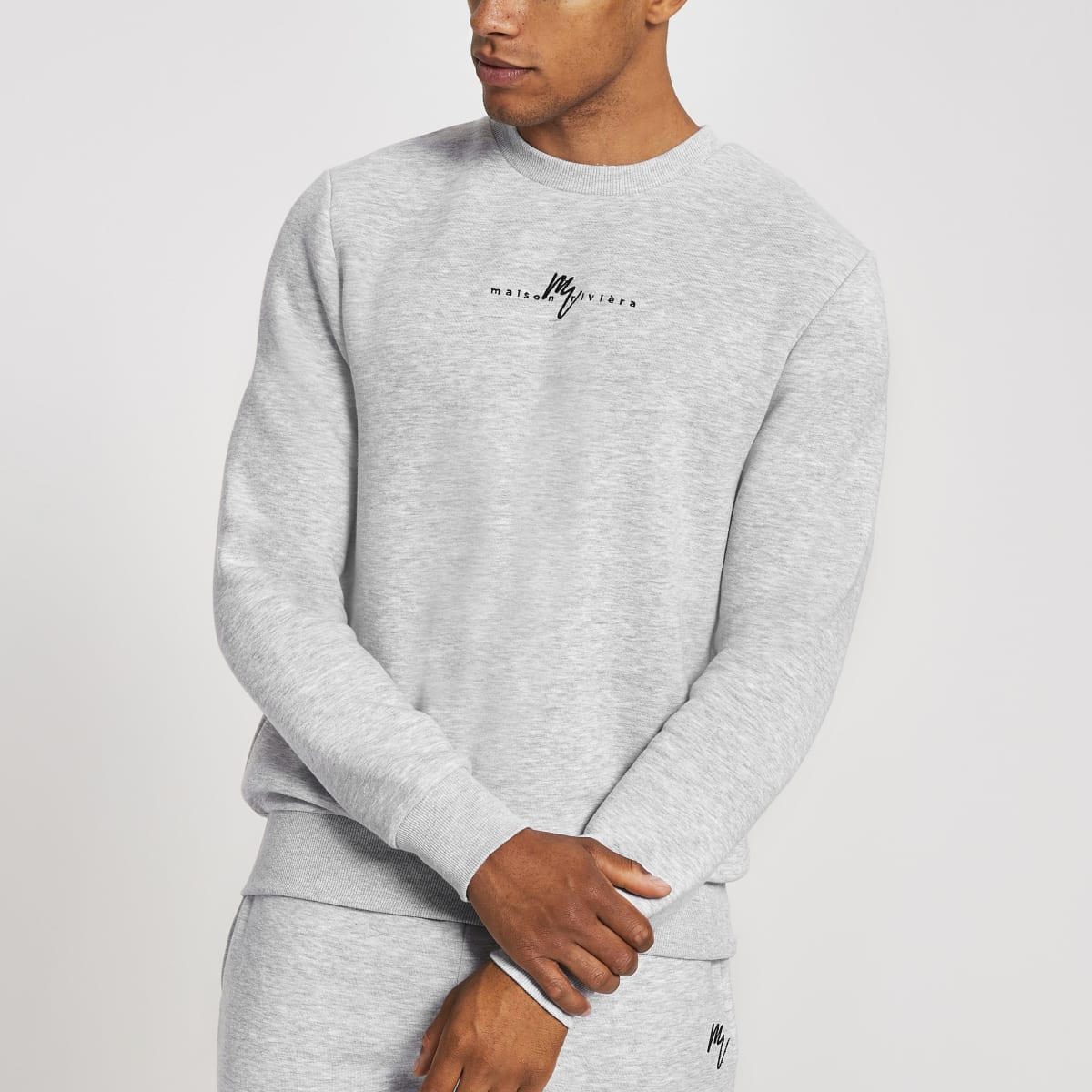 Maison Riviera - Grijze slim-fit sweater