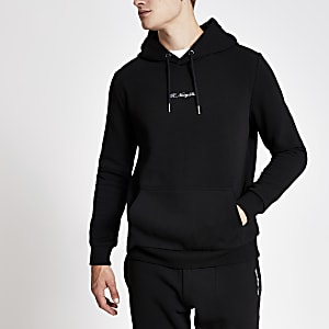 Zwarte slim-fit hoodie met R96-print