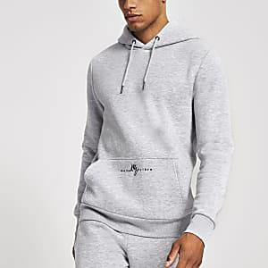 Maison Riviera - Grijze gemêleerde slim-fit hoodie
