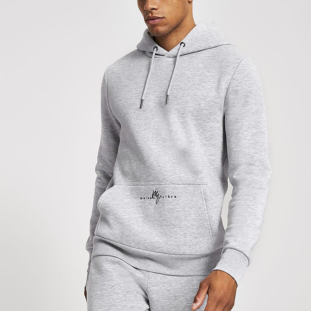 Maison Riviera grey marl slim fit hoodie