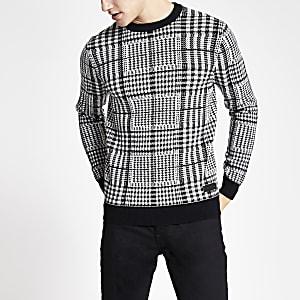 Schwarzer Slim Fit Pullover mit Glencheck-Design