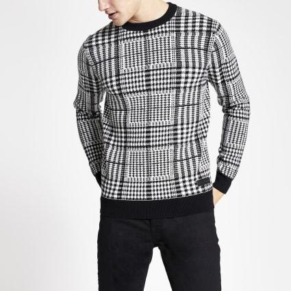 Black slim fit Prince of Wales check jumper