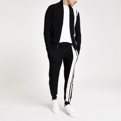 Black stripe slim fit knitted jogger
