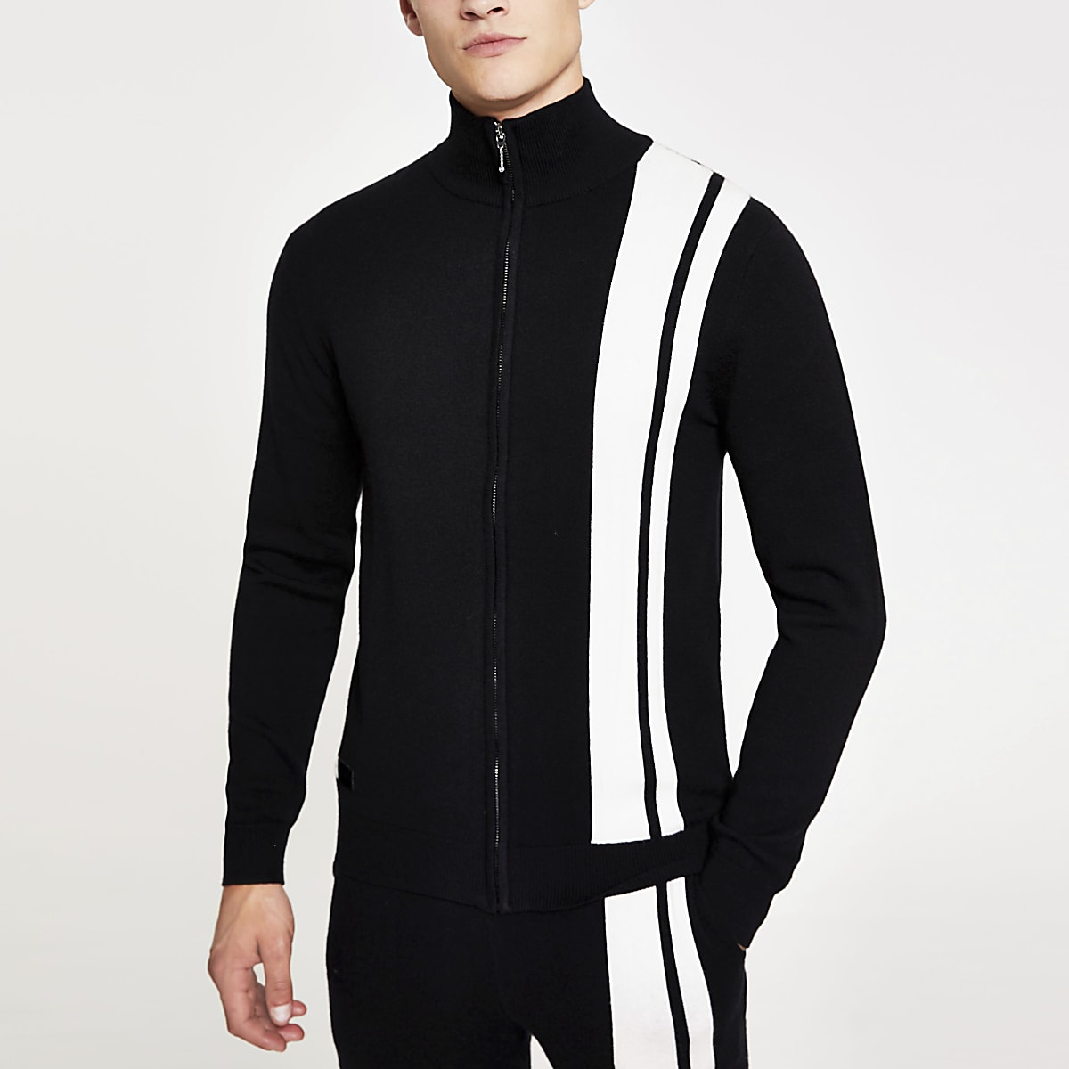 Black stripe funnel neck knitted jacket