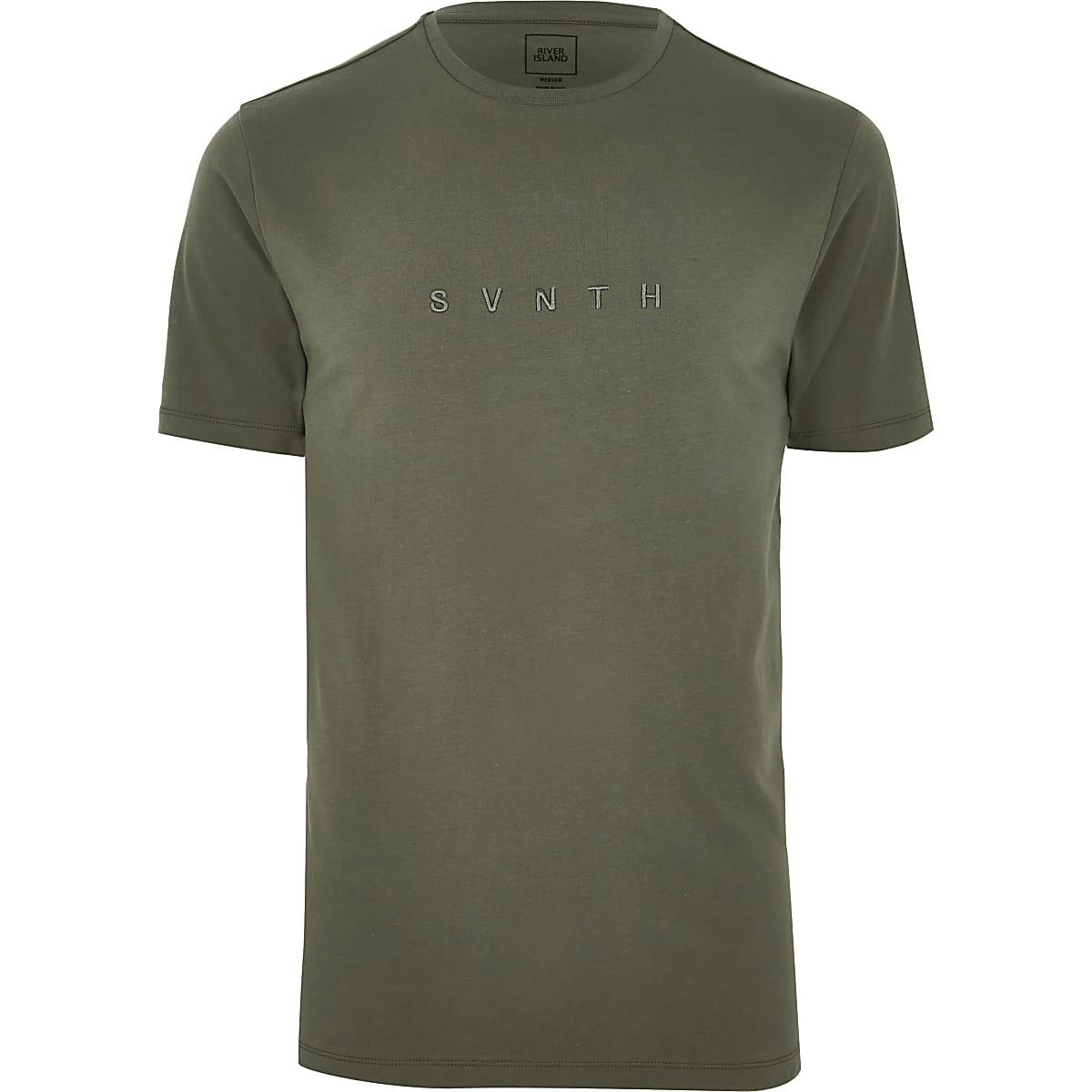 Khaki 'Svnth' slim fit T-shirt