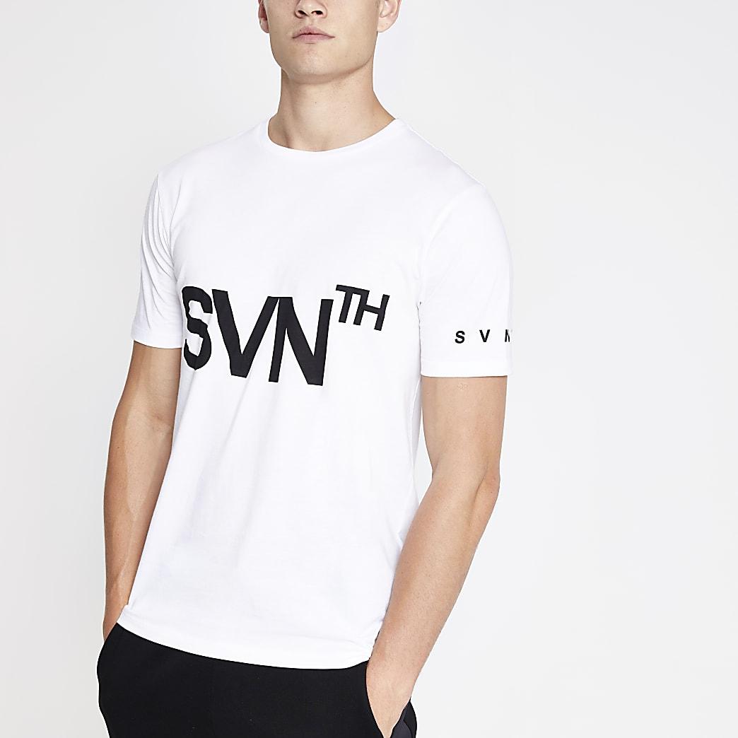 White slim fit  Svnth printed T-shirt
