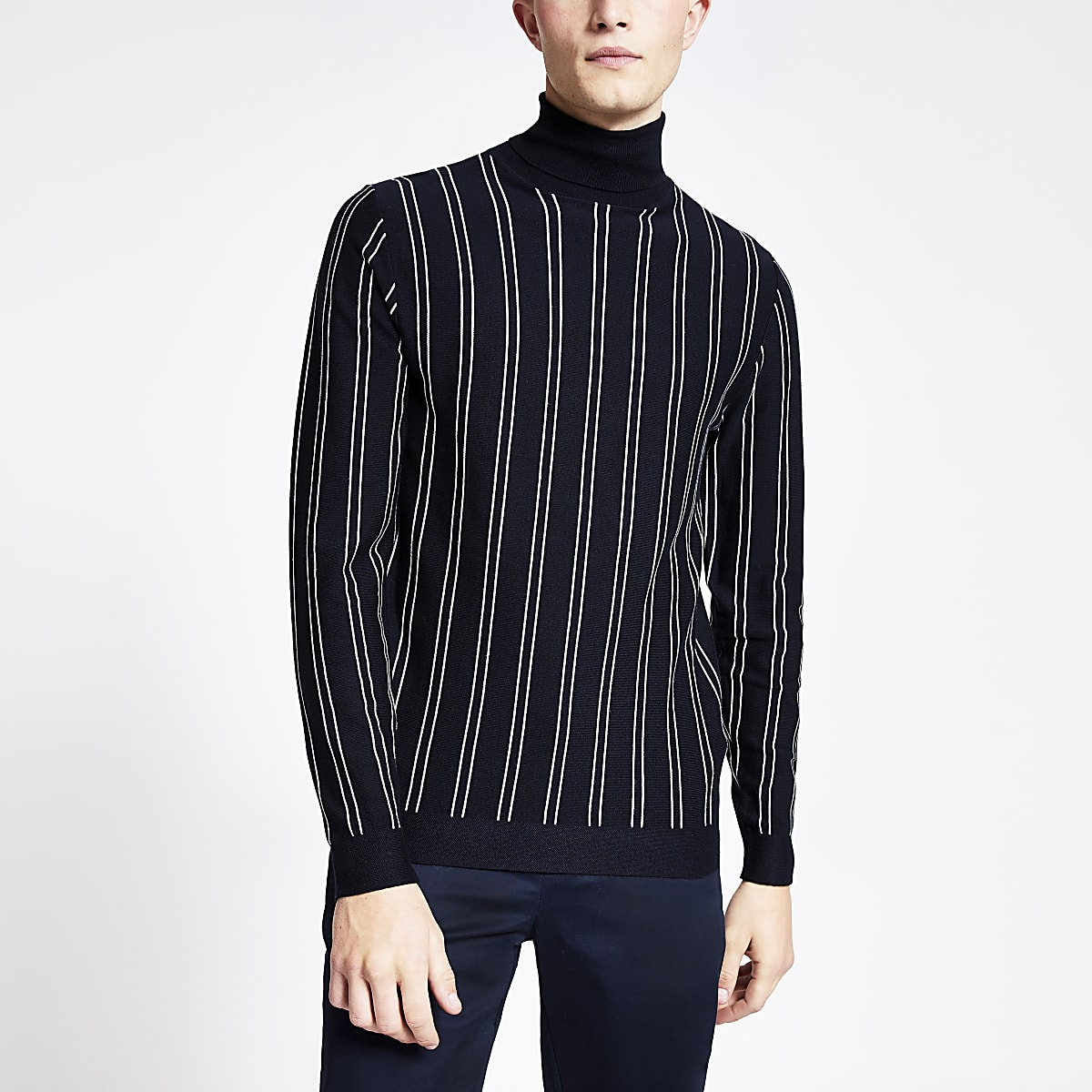 Navy pinstripe roll neck slim fit knit jumper