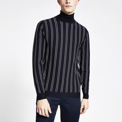 Navy pinstripe roll neck slim fit jumper