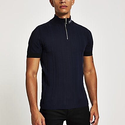 Maison Riviera navy slim fit zip knitted top