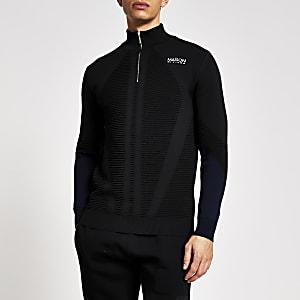 Maison Riviera - Zwarte slim-fit pullover met halve ritssluiting
