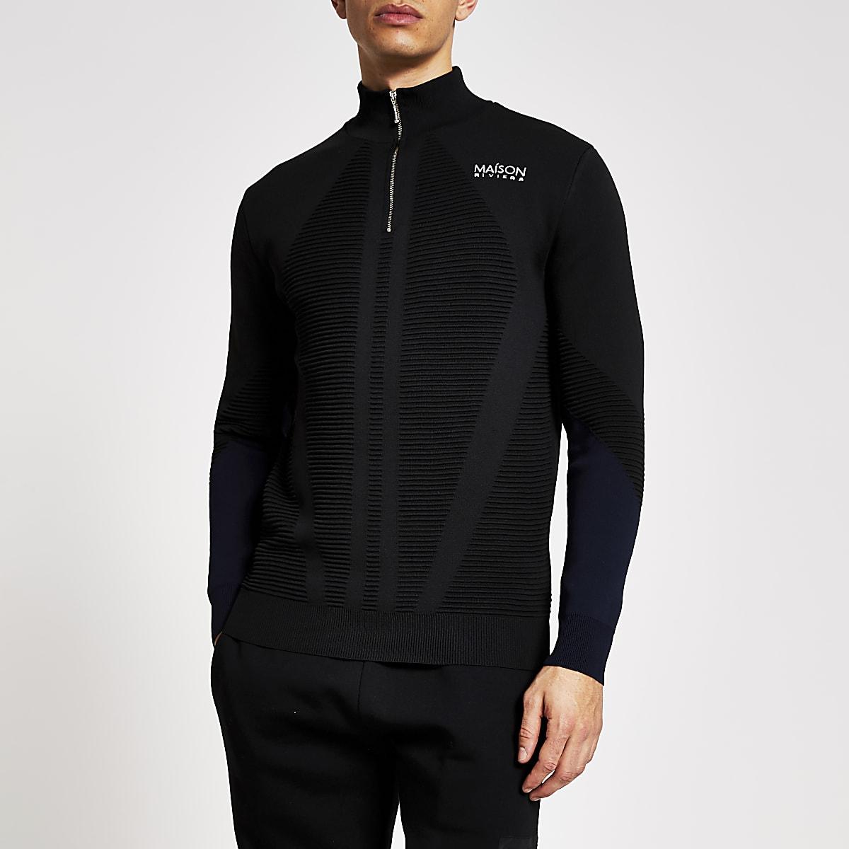 Black slim fit Maison Riviera zip neck jumper