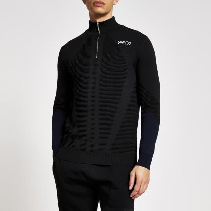Black slim fit Maison Riviera half zip jumper